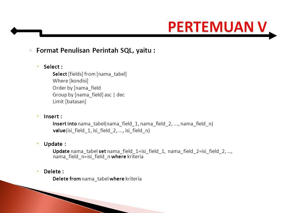 ◦ Format Penulisan Perintah SQL, yaitu :  Select : Select [fields] from [nama_tabel] Where [kondisi] Order by [nama_field Group by [nama_field] asc |