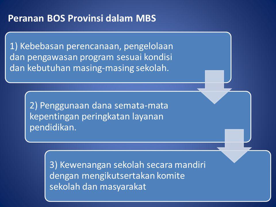 Peranan BOS Provinsi dalam MBS 1) Kebebasan perencanaan, pengelolaan dan pengawasan program sesuai kondisi dan kebutuhan masing-masing sekolah. 2) Pen
