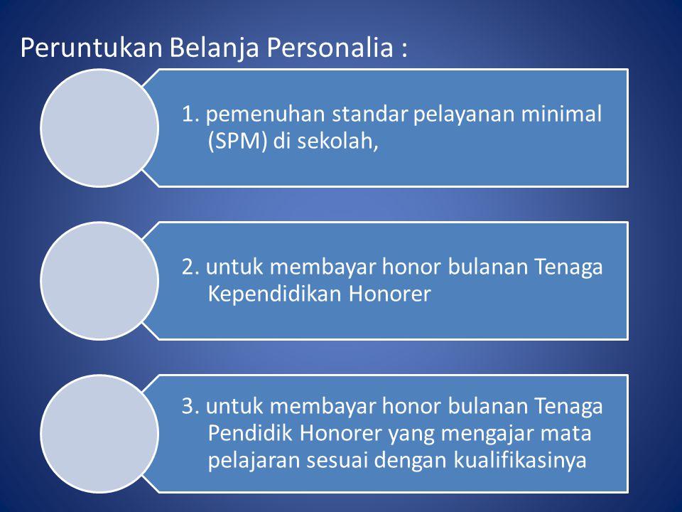 Peruntukan Belanja Personalia : 1. pemenuhan standar pelayanan minimal (SPM) di sekolah, 2. untuk membayar honor bulanan Tenaga Kependidikan Honorer 3