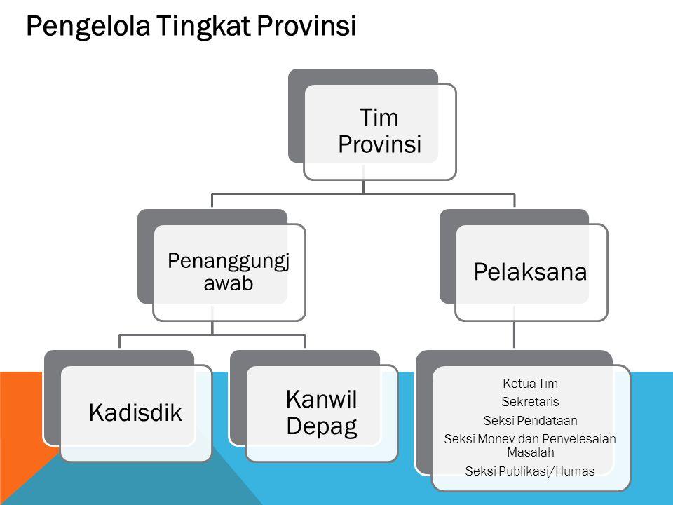 Pengelola Tingkat Provinsi Tim Provinsi Penanggungja wab Kadisdik Kanwil Depag Pelaksana Ketua Tim Sekretaris Seksi Pendataan Seksi Monev dan Penyeles