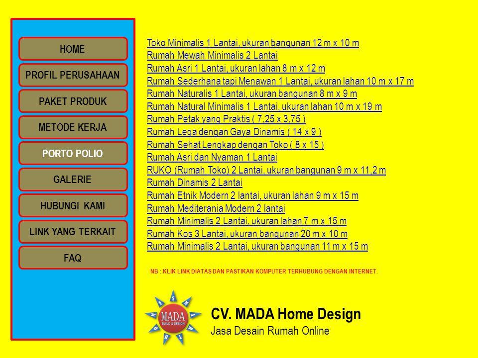 CV. MADA Home Design Jasa Desain Rumah Online Toko Minimalis 1 Lantai, ukuran bangunan 12 m x 10 m Rumah Mewah Minimalis 2 Lantai Rumah Asri 1 Lantai,