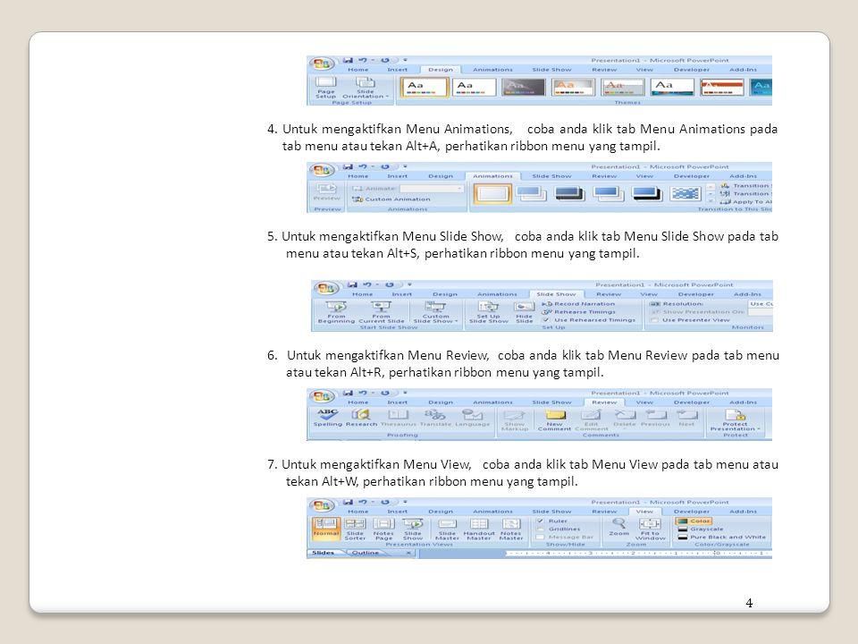 4. Untuk mengaktifkan Menu Animations, coba anda klik tab Menu Animations pada tab menu atau tekan Alt+A, perhatikan ribbon menu yang tampil. 5. Untuk