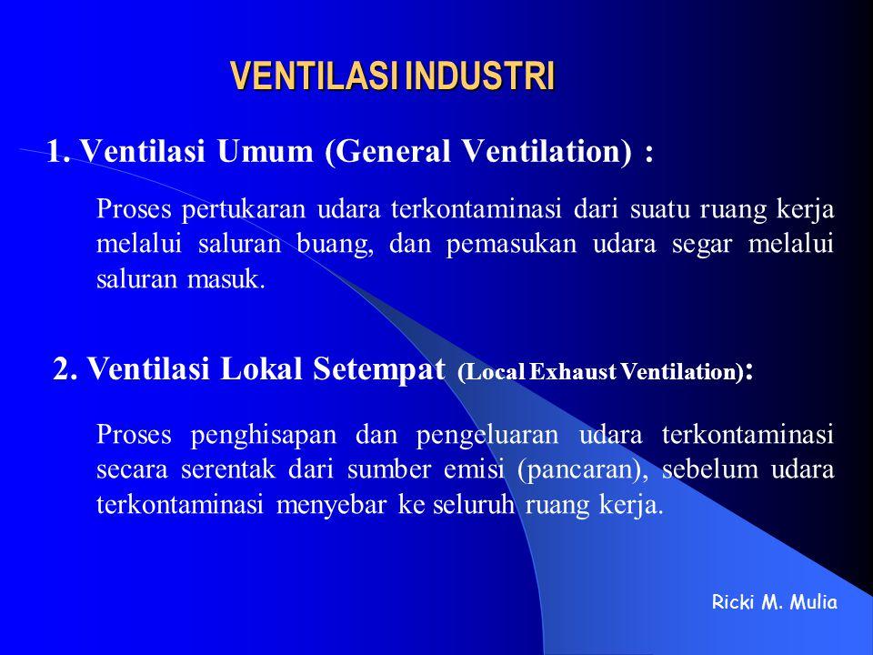 VENTILASI INDUSTRI 1. Ventilasi Umum (General Ventilation) : Ricki M. Mulia Proses pertukaran udara terkontaminasi dari suatu ruang kerja melalui salu