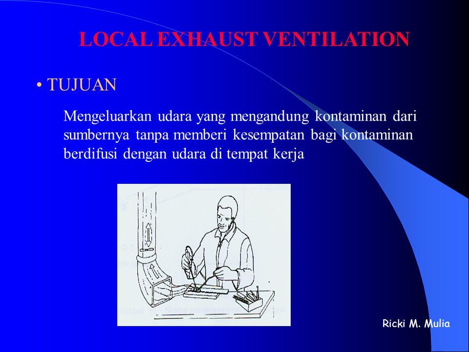 LOCAL EXHAUST VENTILATION • TUJUAN Mengeluarkan udara yang mengandung kontaminan dari sumbernya tanpa memberi kesempatan bagi kontaminan berdifusi den