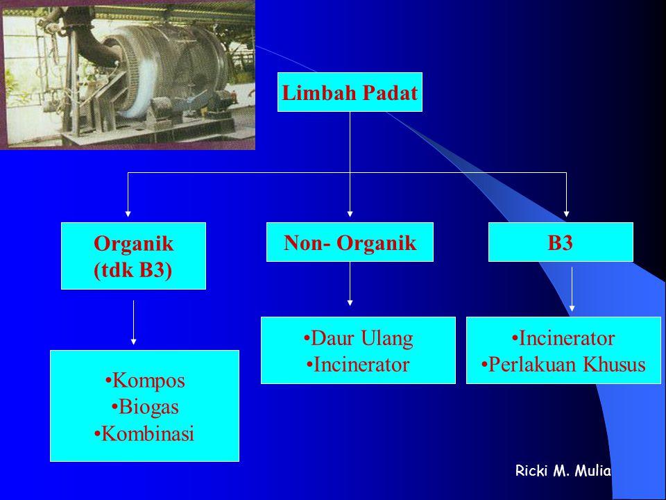 Limbah Padat Organik (tdk B3) •Kompos •Biogas •Kombinasi Non- Organik •Daur Ulang •Incinerator B3 •Incinerator •Perlakuan Khusus Ricki M. Mulia