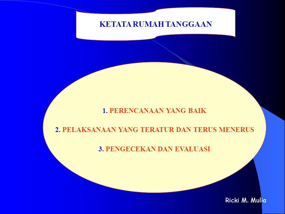 KETATA RUMAH TANGGAAN 1. PERENCANAAN YANG BAIK 2. PELAKSANAAN YANG TERATUR DAN TERUS MENERUS 3. PENGECEKAN DAN EVALUASI Ricki M. Mulia