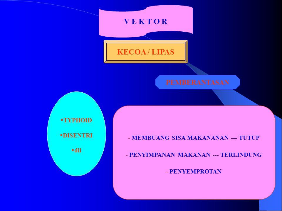 V E K T O R KECOA / LIPAS  TYPHOID  DISENTRI  dll - MEMBUANG SISA MAKANANAN --- TUTUP - PENYIMPANAN MAKANAN --- TERLINDUNG - PENYEMPROTAN PEMBERANT