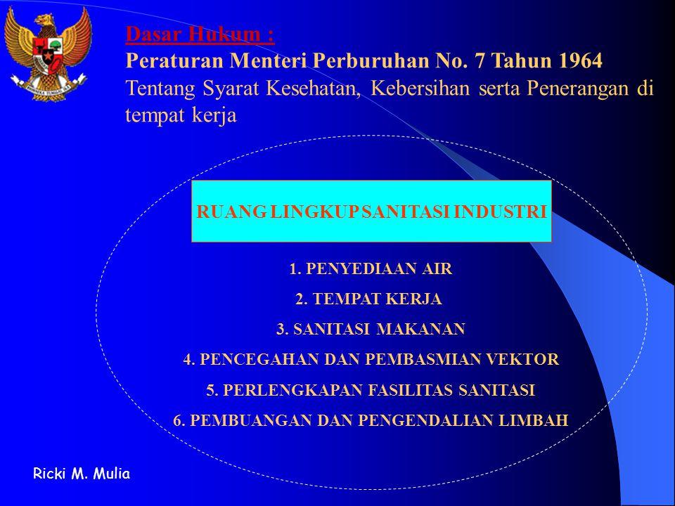 RUANG LINGKUP SANITASI INDUSTRI 1. PENYEDIAAN AIR 2. TEMPAT KERJA 3. SANITASI MAKANAN 4. PENCEGAHAN DAN PEMBASMIAN VEKTOR 5. PERLENGKAPAN FASILITAS SA