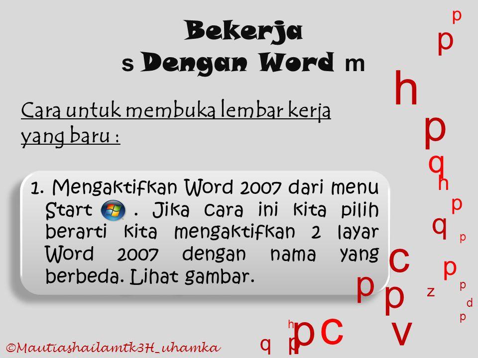 1. Mengaktifkan Word 2007 dari menu Start. Jika cara ini kita pilih berarti kita mengaktifkan 2 layar Word 2007 dengan nama yang berbeda. Lihat gambar