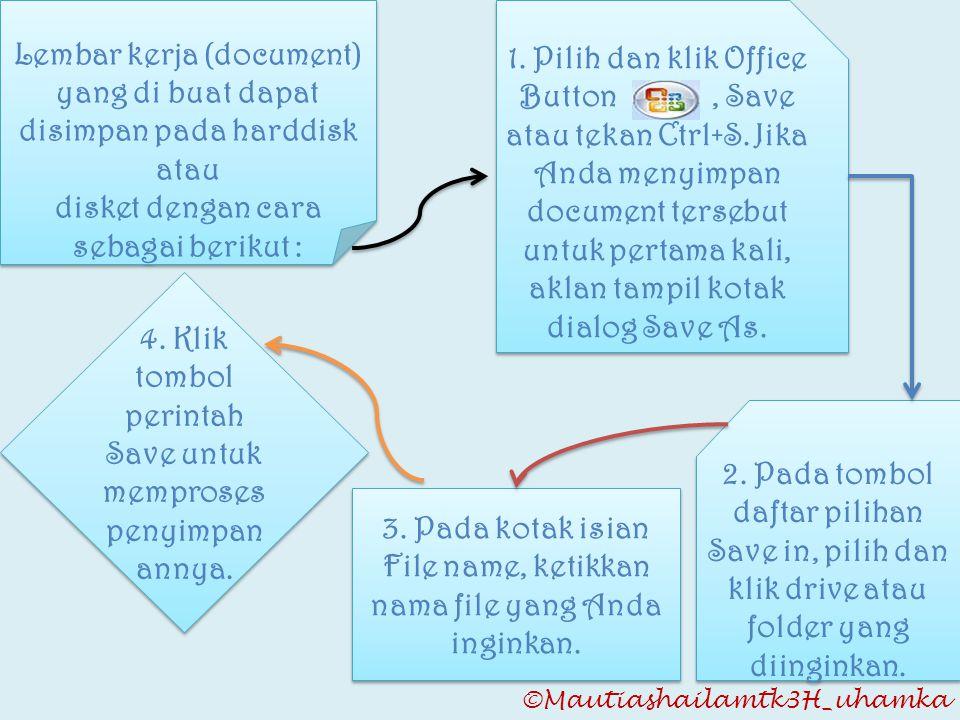 ©Mautiashailamtk3H_uhamka Lembar kerja (document) yang di buat dapat disimpan pada harddisk atau disket dengan cara sebagai berikut : Lembar kerja (do