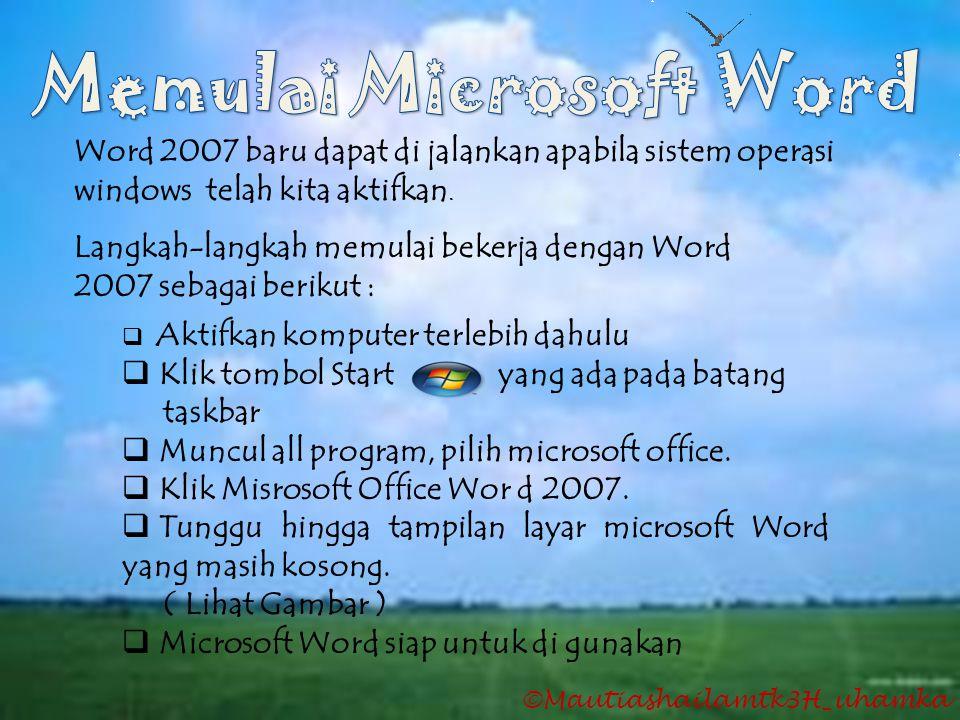 Word 2007 baru dapat di jalankan apabila sistem operasi windows telah kita aktifkan. Langkah-langkah memulai bekerja dengan Word 2007 sebagai berikut