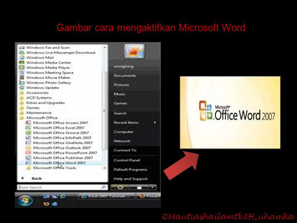 Gambar cara mengaktifkan Microsoft Word ©Mautiashailamtk3H_uhamka