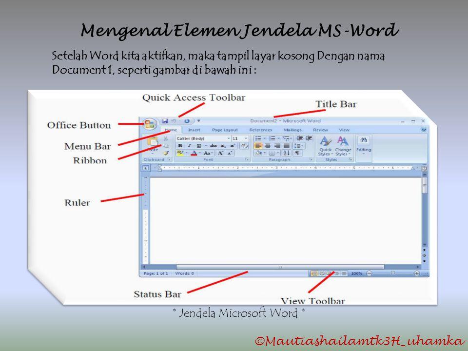 Mengenal Elemen Jendela MS-Word Setelah Word kita aktifkan, maka tampil layar kosong Dengan nama Document 1, seperti gambar di bawah ini : * Jendela M