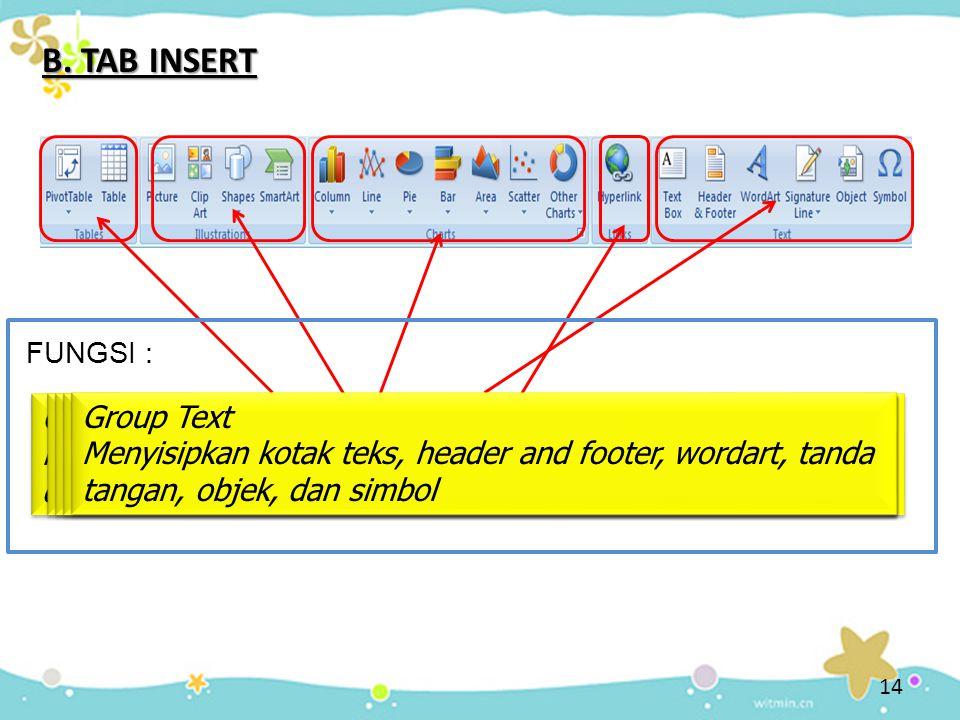 B. TAB INSERT Group table Menyisipkan pivotable untuk data-data tabel yang kompleks dan membuat tabel untuk mengatur dan menganalisis data Group table