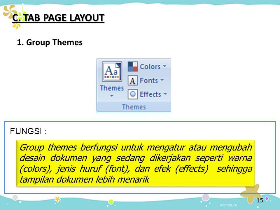 C. TAB PAGE LAYOUT 1. Group Themes Group themes berfungsi untuk mengatur atau mengubah desain dokumen yang sedang dikerjakan seperti warna (colors), j