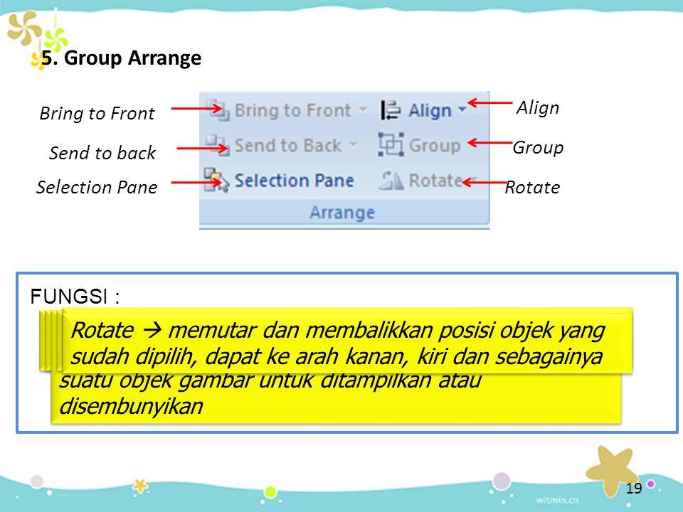5. Group Arrange Bring to Front Bring to front  memindah objek terpilih ke urutan paling depan Send to back Send To back  memindah urutan objek terp