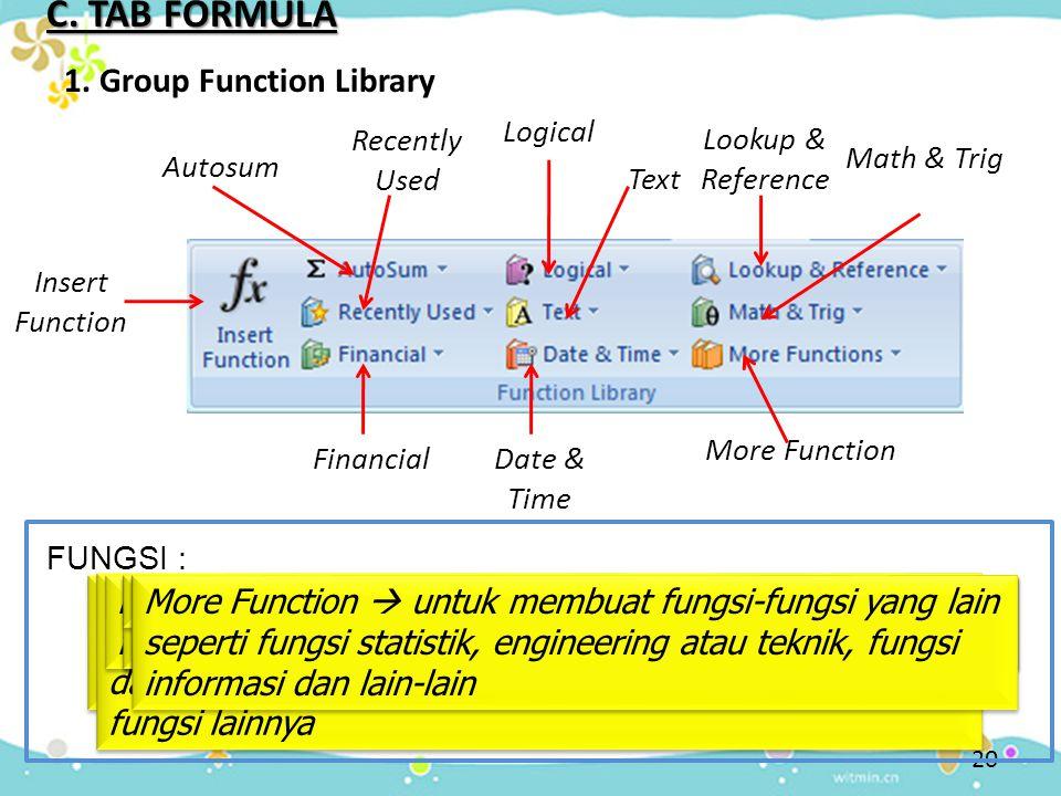 C. TAB FORMULA 1. Group Function Library Insert Function Insert function  menampilkan kotak dialog insert function yang digunakan untuk menyisipkan f