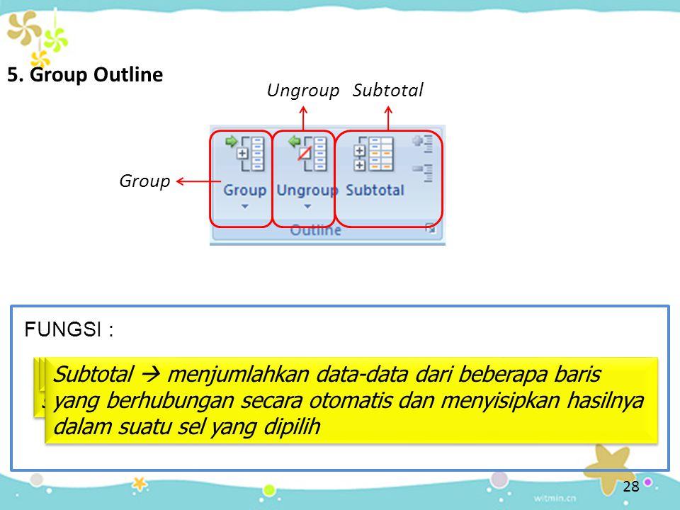 28 5. Group Outline FUNGSI : Group Group  menggabungkan suatu range menjadi satu sel yang sama Ungroup Ungroup  memisahkan kembali sel yang sama Sub
