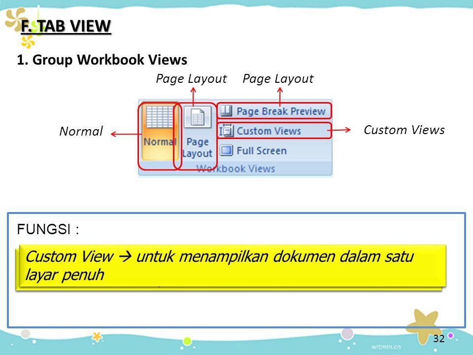 32 F. TAB VIEW 1. Group Workbook Views Normal Normal  untuk menampilkan dokumen dalam tampilan normal FUNGSI : Page Layout Page Layout  untuk menamp