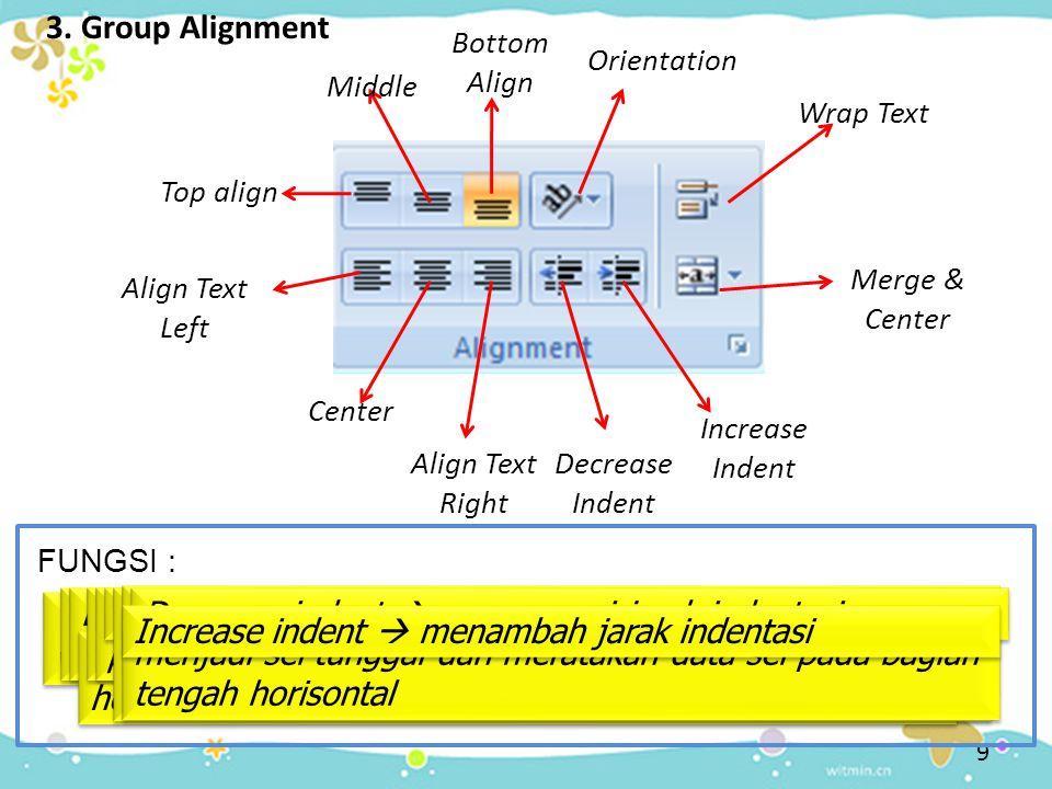 3. Group Alignment Top align Top Align  mengatur perataan data sel pada posisi vertikal dengan rata atas Middle Middle  mengatur perataan data sel p