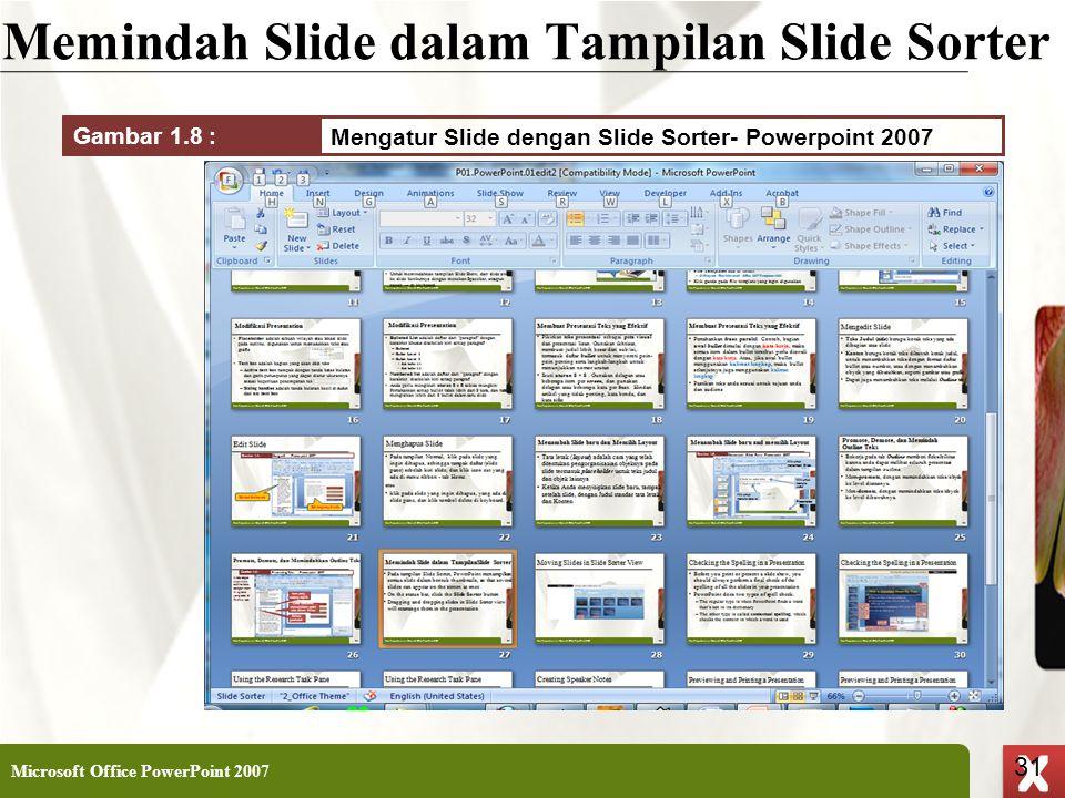 XP 31 X X Memindah Slide dalam Tampilan Slide Sorter Microsoft Office PowerPoint 2007 31 Mengatur Slide dengan Slide Sorter- Powerpoint 2007 Gambar 1.
