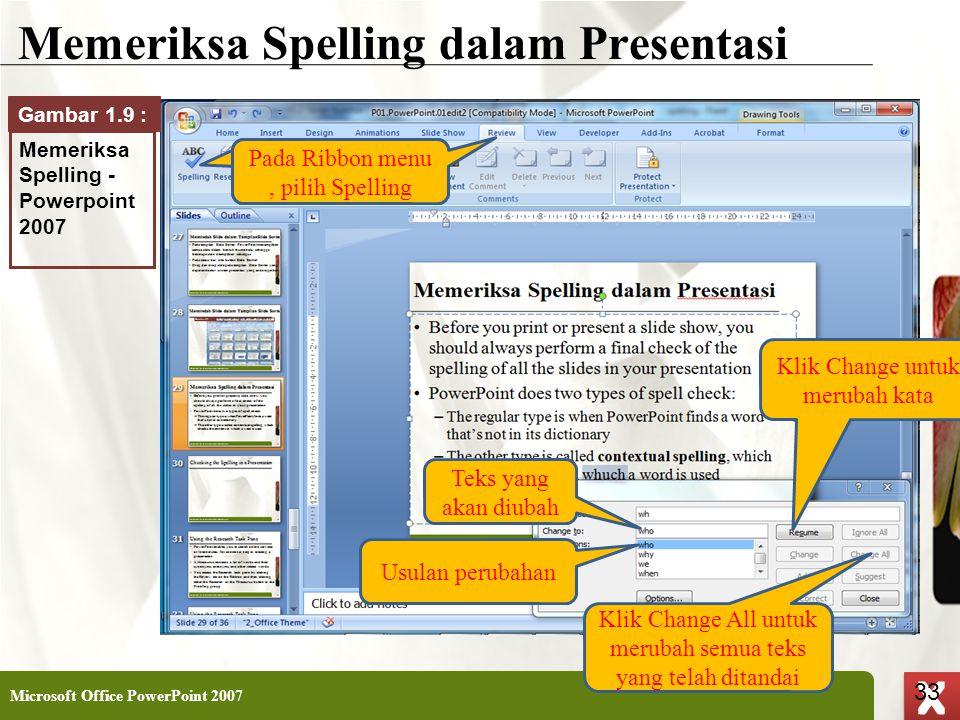 XP 33 X X Memeriksa Spelling dalam Presentasi Microsoft Office PowerPoint 2007 33 Klik Change untuk merubah kata Usulan perubahan Teks yang akan diuba