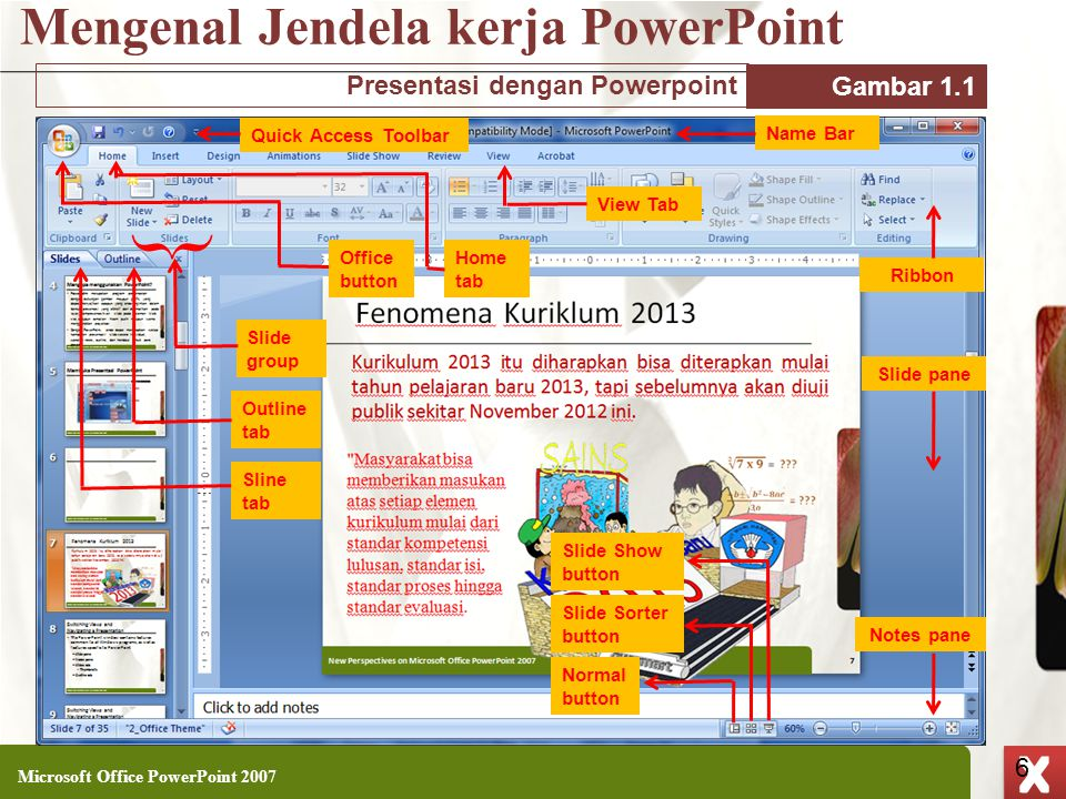 XP 6 X X Mengenal Jendela kerja PowerPoint Microsoft Office PowerPoint 2007 6 Quick Access Toolbar Name Bar View Tab Slide Show button Slide Sorter bu