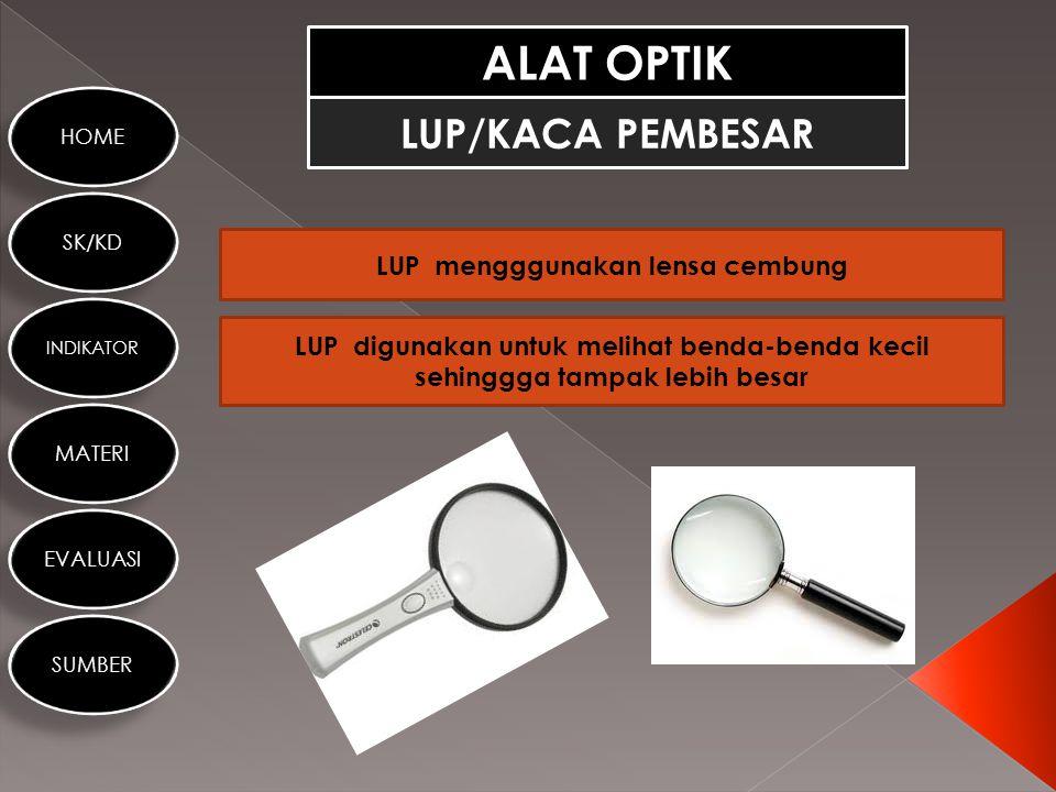 HOME SK/KD INDIKATOR MATERI EVALUASI SUMBER ALAT OPTIK LENSA Lensa adalah benda transparan yang dibatasi oleh dua bidang lengkung atau dibatasi bidang