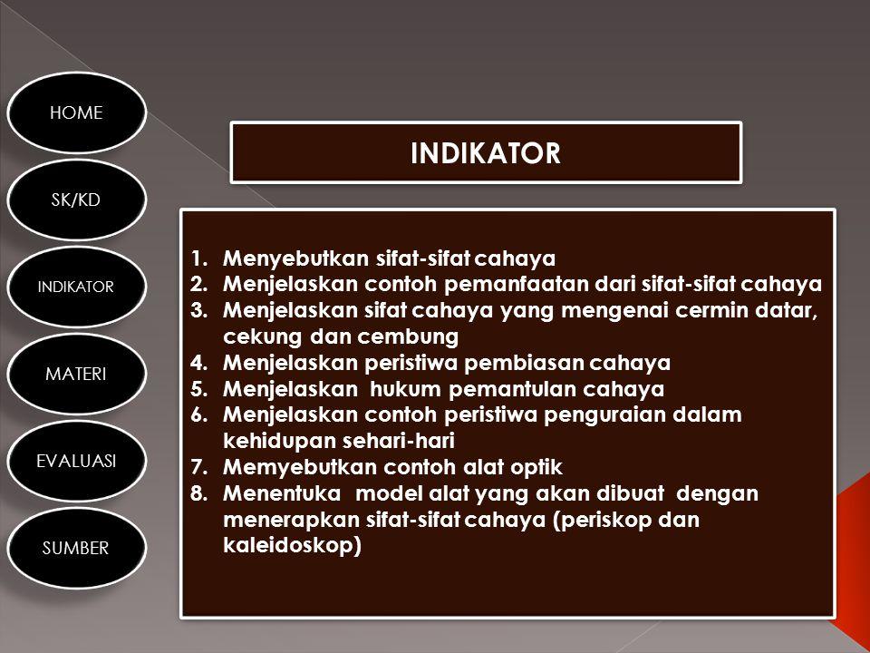 HOME SK/KD INDIKATOR MATERI EVALUASI SUMBER STANDAR KOMPETENSI KOMPETENSI DASAR 6. Menerapkan sifat-sifat cahaya melalui kegiatan membuat suatu karya/