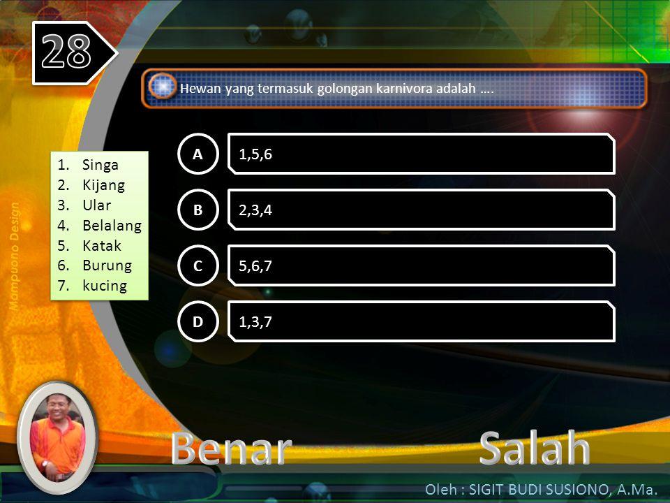 Oleh : SIGIT BUDI SUSIONO, A.Ma. Hewan yang berkembang biak dengan cara ovivar adalah …. A A 1,2,3 B B 4,5,6 C C 2,3,4 D D 1,5,6