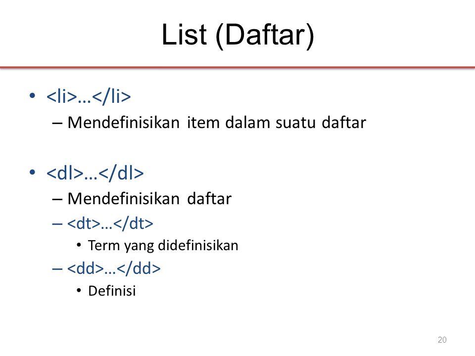 List (Daftar) • … – Mendefinisikan item dalam suatu daftar • … – Mendefinisikan daftar – … • Term yang didefinisikan – … • Definisi 20