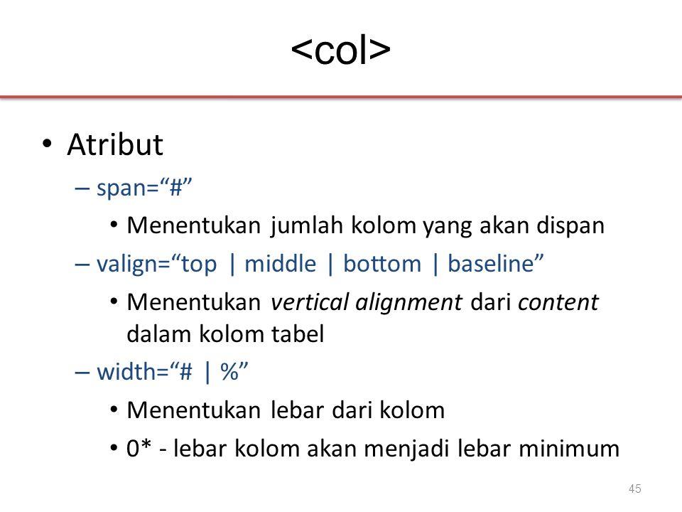 • Atribut – span= # • Menentukan jumlah kolom yang akan dispan – valign= top | middle | bottom | baseline • Menentukan vertical alignment dari content dalam kolom tabel – width= # | % • Menentukan lebar dari kolom • 0* - lebar kolom akan menjadi lebar minimum 45
