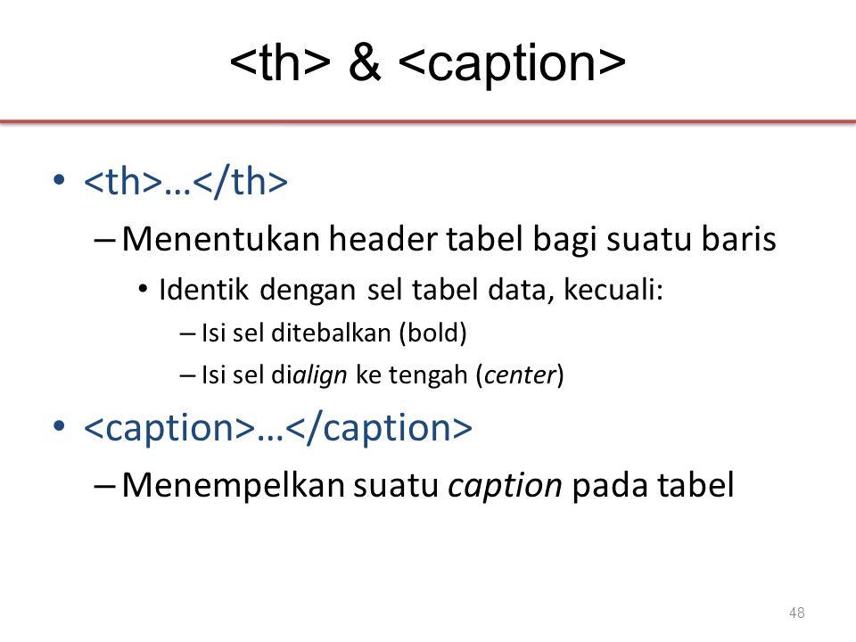 & • … – Menentukan header tabel bagi suatu baris • Identik dengan sel tabel data, kecuali: – Isi sel ditebalkan (bold) – Isi sel dialign ke tengah (center) • … – Menempelkan suatu caption pada tabel 48