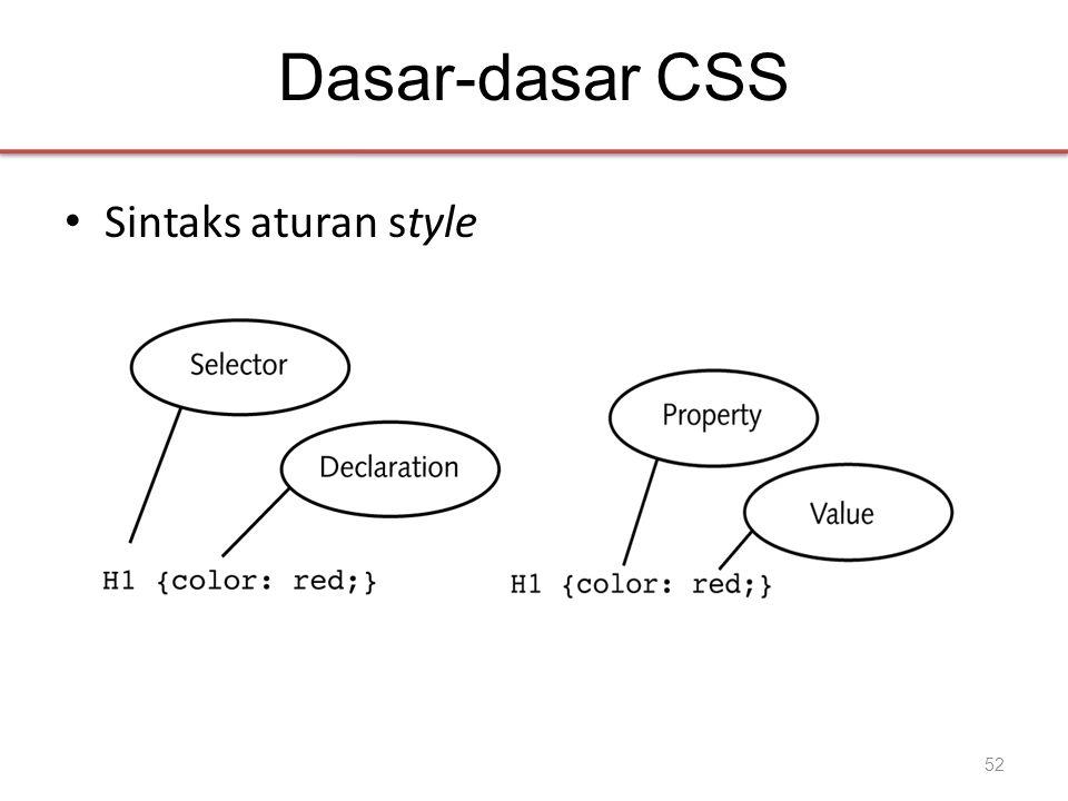 Dasar-dasar CSS • Sintaks aturan style 52