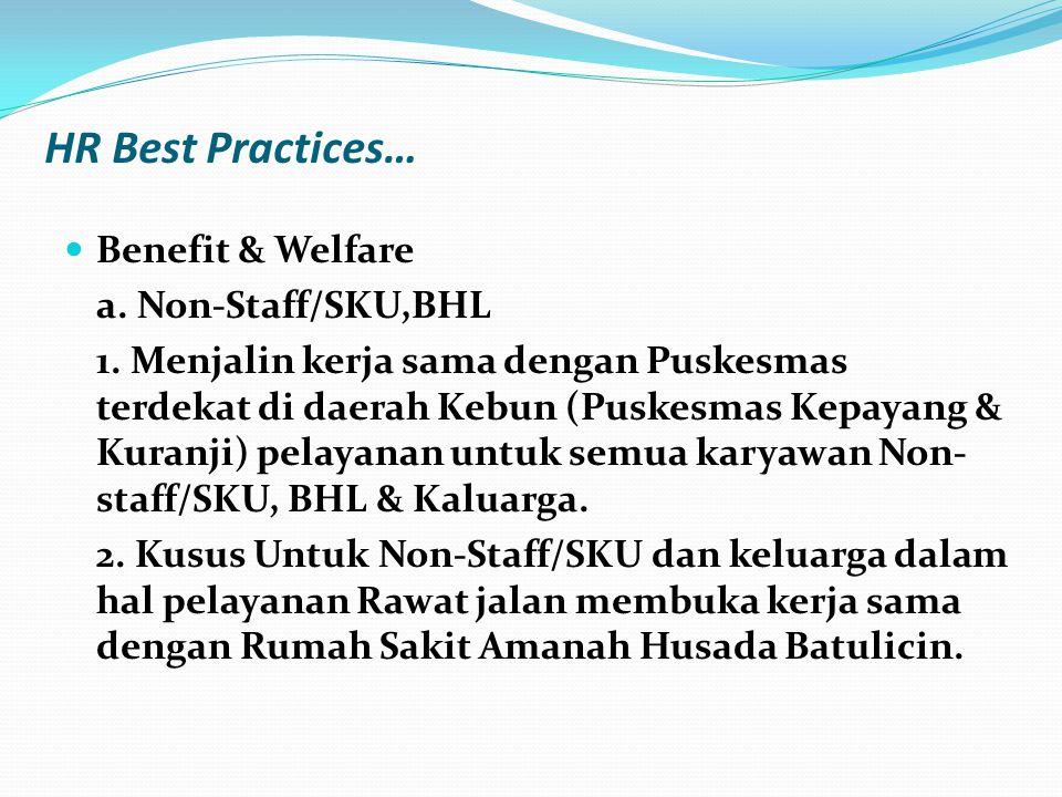  Benefit & Welfare a. Non-Staff/SKU,BHL 1. Menjalin kerja sama dengan Puskesmas terdekat di daerah Kebun (Puskesmas Kepayang & Kuranji) pelayanan unt