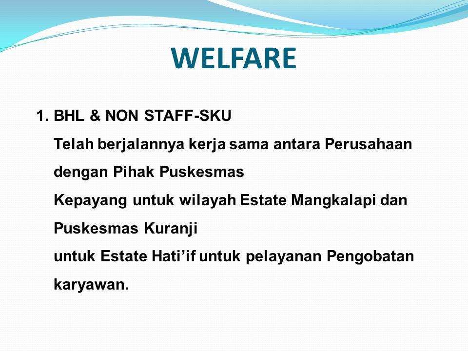 WELFARE 1.BHL & NON STAFF-SKU Telah berjalannya kerja sama antara Perusahaan dengan Pihak Puskesmas Kepayang untuk wilayah Estate Mangkalapi dan Puske
