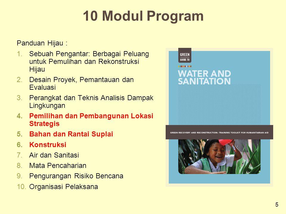 5 10 Modul Program Panduan Hijau : 1.Sebuah Pengantar: Berbagai Peluang untuk Pemulihan dan Rekonstruksi Hijau 2.Desain Proyek, Pemantauan dan Evaluas