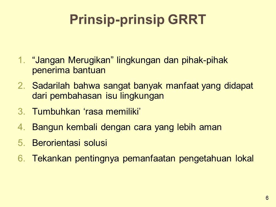 """6 Prinsip-prinsip GRRT 1.""""Jangan Merugikan"""" lingkungan dan pihak-pihak penerima bantuan 2.Sadarilah bahwa sangat banyak manfaat yang didapat dari pemb"""