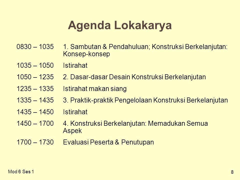 8 Agenda Lokakarya 0830 – 10351. Sambutan & Pendahuluan; Konstruksi Berkelanjutan: Konsep-konsep 1035 – 1050Istirahat 1050 – 12352. Dasar-dasar Desain
