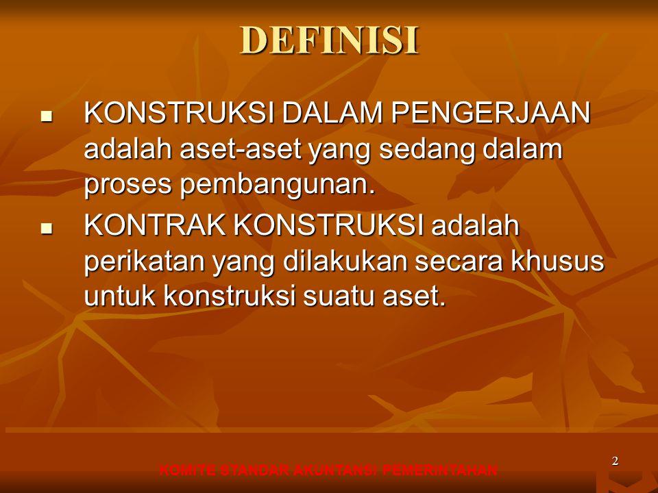 KOMITE STANDAR AKUNTANSI PEMERINTAHAN 2 DEFINISI  KONSTRUKSI DALAM PENGERJAAN adalah aset-aset yang sedang dalam proses pembangunan.