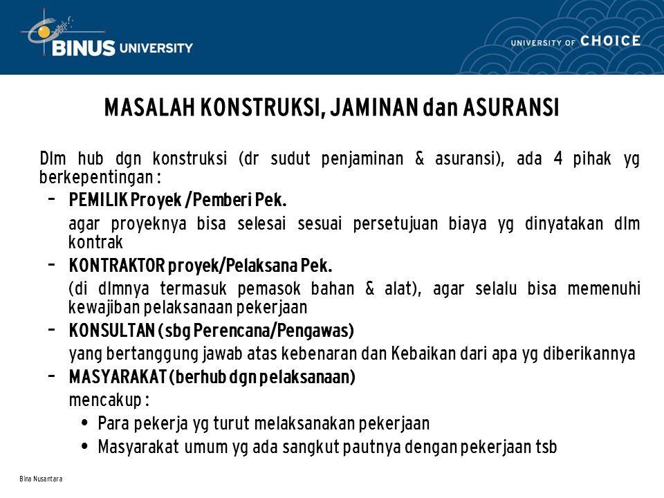 Bina Nusantara MASALAH KONSTRUKSI, JAMINAN dan ASURANSI Dlm hub dgn konstruksi (dr sudut penjaminan & asuransi), ada 4 pihak yg berkepentingan : – PEM