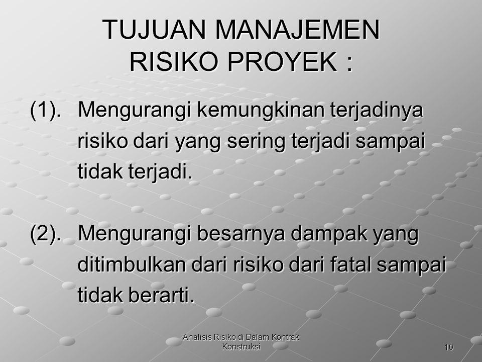 10 Analisis Risiko di Dalam Kontrak Konstruksi TUJUAN MANAJEMEN RISIKO PROYEK : (1).Mengurangi kemungkinan terjadinya risiko dari yang sering terjadi