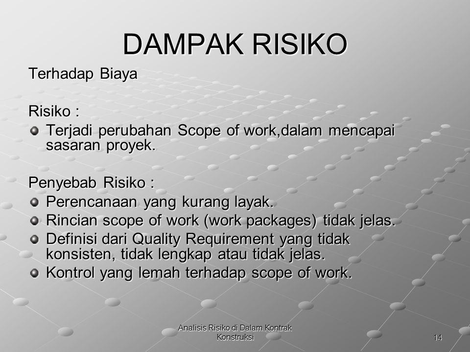 14 Analisis Risiko di Dalam Kontrak Konstruksi DAMPAK RISIKO Terhadap Biaya Risiko : Terjadi perubahan Scope of work,dalam mencapai sasaran proyek. Te