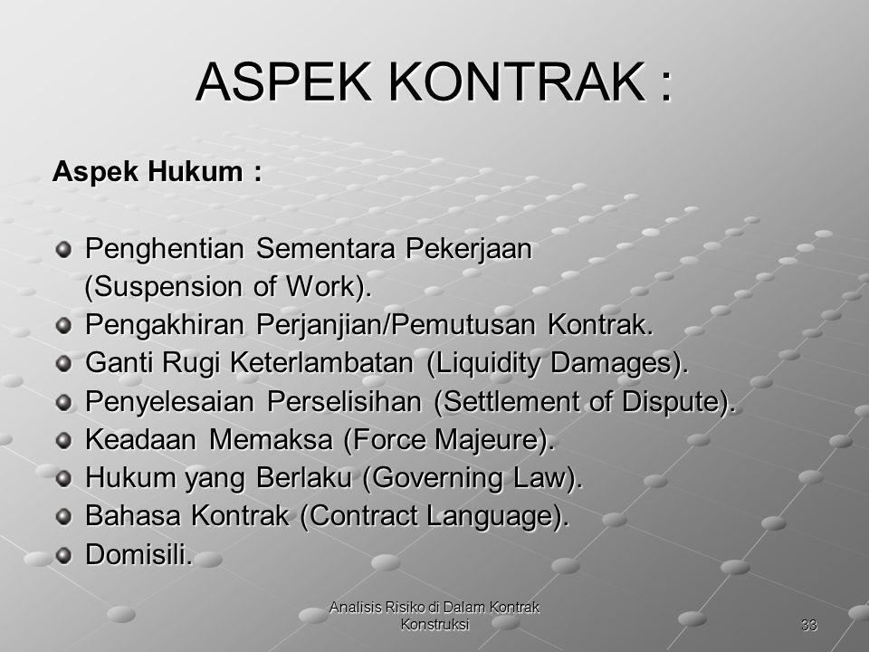 33 Analisis Risiko di Dalam Kontrak Konstruksi ASPEK KONTRAK : Aspek Hukum : Penghentian Sementara Pekerjaan (Suspension of Work). (Suspension of Work