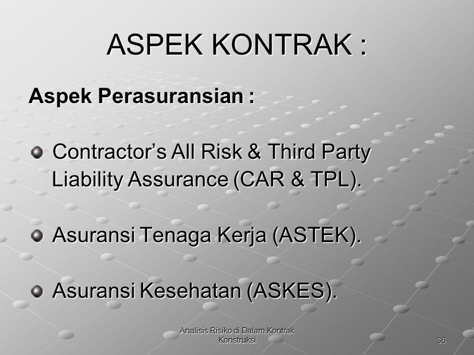 36 Analisis Risiko di Dalam Kontrak Konstruksi ASPEK KONTRAK : Aspek Perasuransian : Contractor's All Risk & Third Party Contractor's All Risk & Third