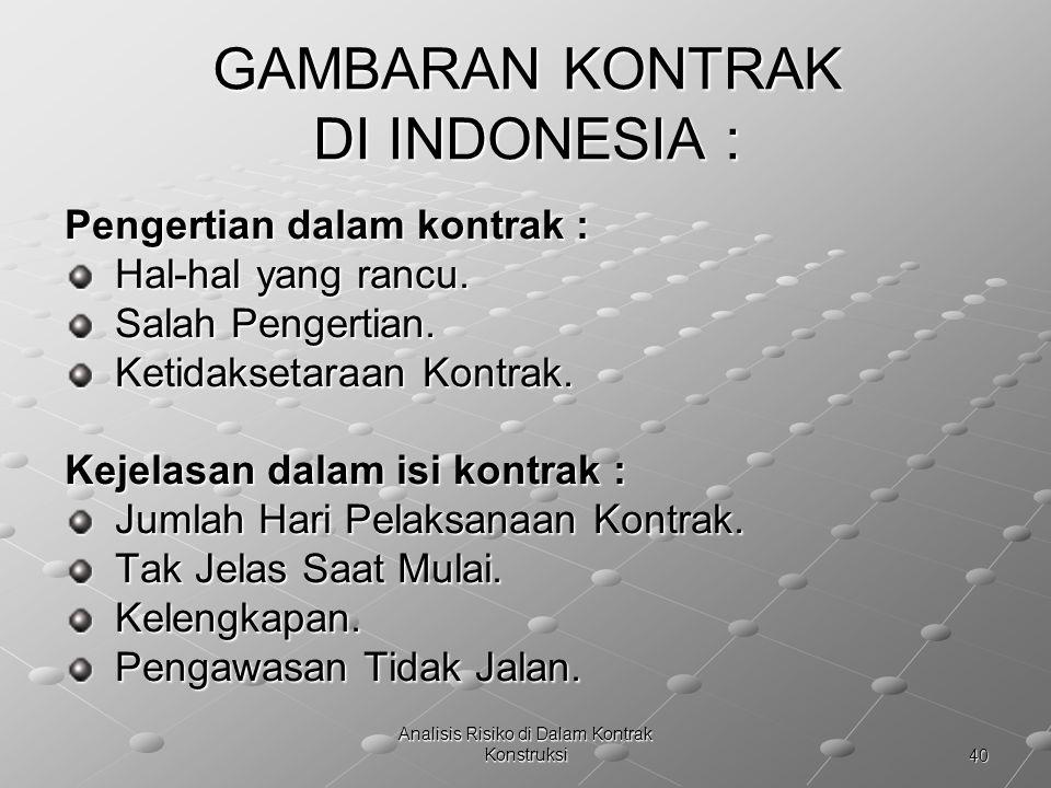 40 Analisis Risiko di Dalam Kontrak Konstruksi GAMBARAN KONTRAK DI INDONESIA : Pengertian dalam kontrak : Hal-hal yang rancu. Hal-hal yang rancu. Sala