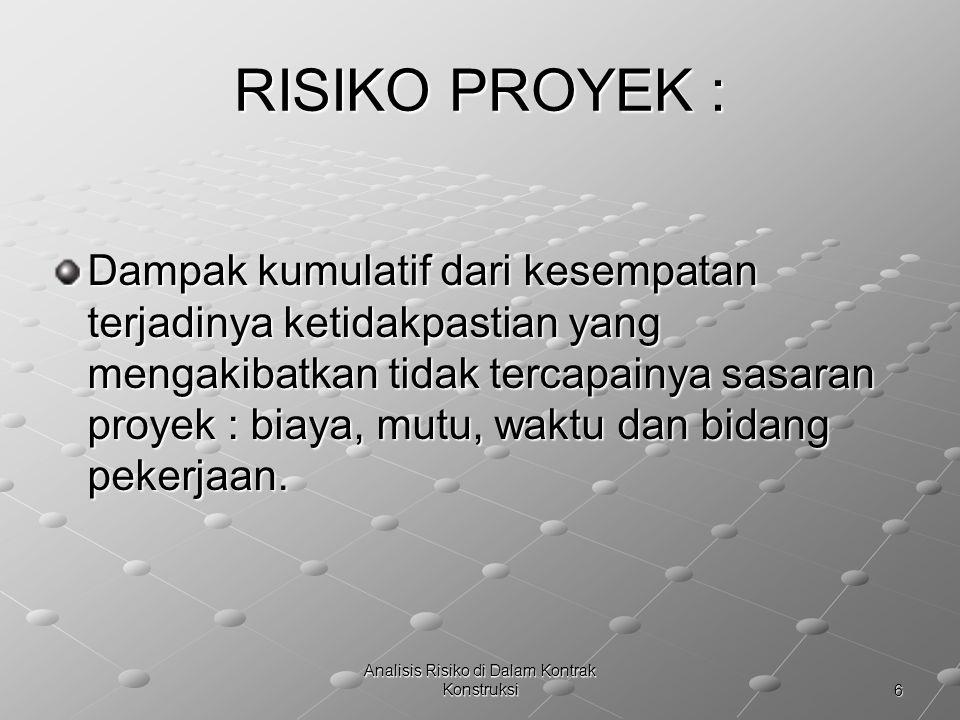 17 Analisis Risiko di Dalam Kontrak Konstruksi DAMPAK RISIKO Terhadap bidang pekerjaan Risiko : Terjadi perubahan Scope of work, dalam mencapai sasaran proyek.