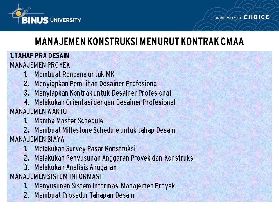Bina Nusantara MANAJEMEN KONSTRUKSI MENURUT KONTRAK CMAA 1.TAHAP PRA DESAIN MANAJEMEN PROYEK  Membuat Rencana untuk MK  Menyiapkan Pemilihan Desai