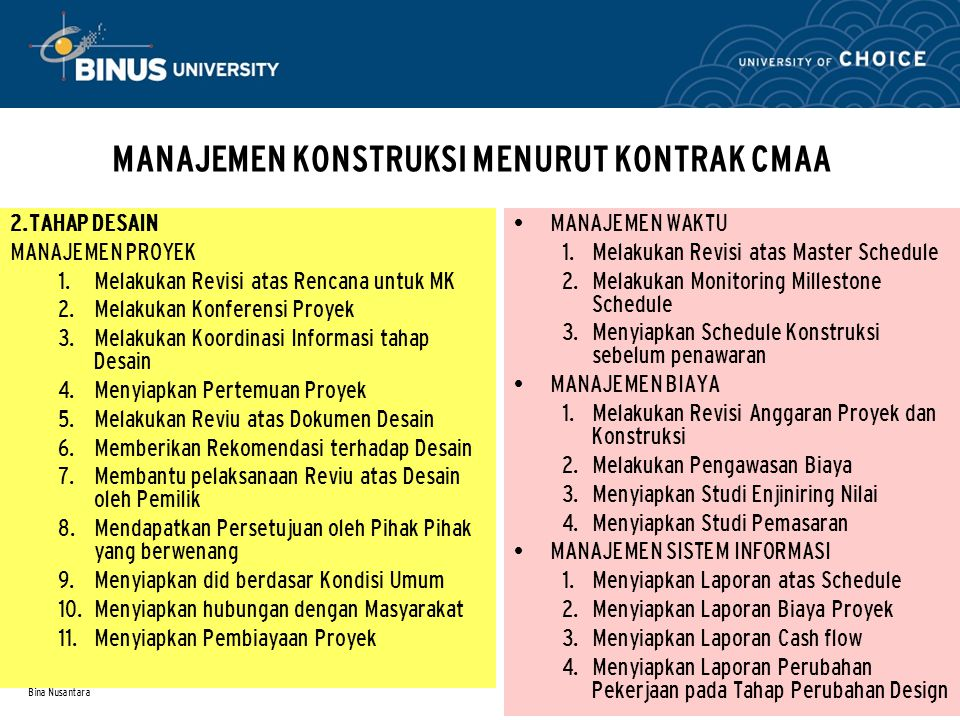 Bina Nusantara MANAJEMEN KONSTRUKSI MENURUT KONTRAK CMAA 2.TAHAP DESAIN MANAJEMEN PROYEK  Melakukan Revisi atas Rencana untuk MK  Melakukan Konfer