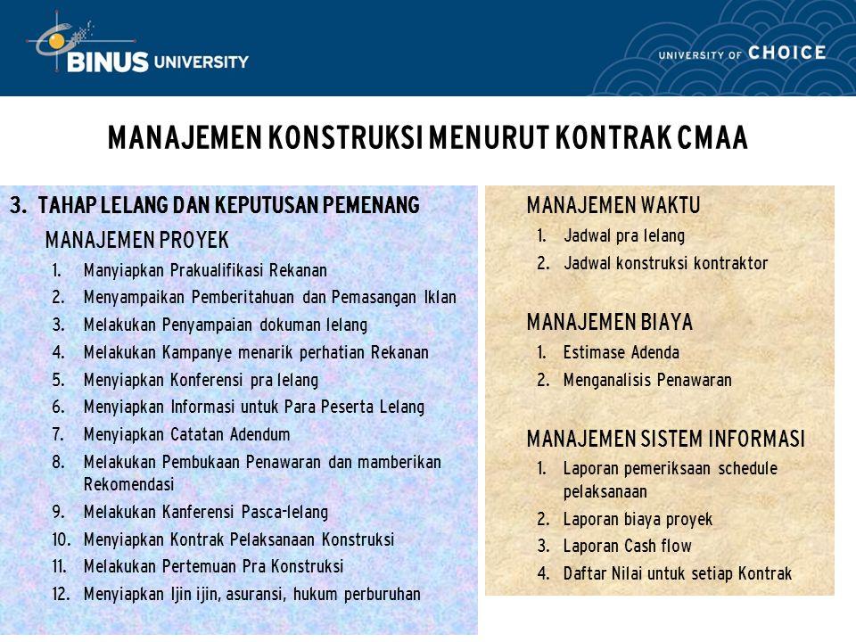 Bina Nusantara MANAJEMEN KONSTRUKSI MENURUT KONTRAK CMAA 3. TAHAP LELANG DAN KEPUTUSAN PEMENANG MANAJEMEN PROYEK  Manyiapkan Prakualifikasi Rekanan